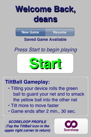 TiltBall Welcome Screen